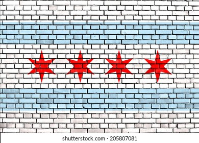 flag of Chicago painted on brick wall