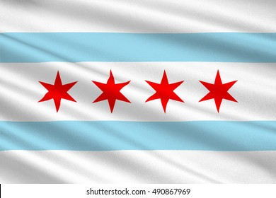 Flag of Chicago is the third most populous city in the United States. 3D illustration