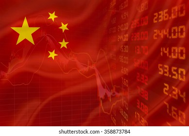 Flag of China with a downtrend chart of financial instruments and a display of daily stock market price and quotations.