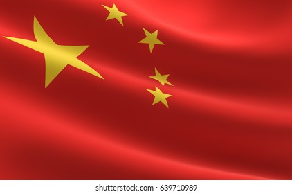 Flag of China. Illustration of the China flag waving.