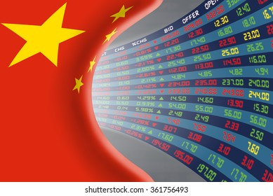 Flag of China with a large display of daily stock market price and quotations during moderate economic period. The fate and mystery of China stock market, tunnel/corridor concept.