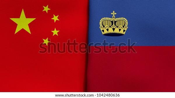Flag of China and Liechtenstein