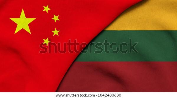 Flag of China and Lithuania