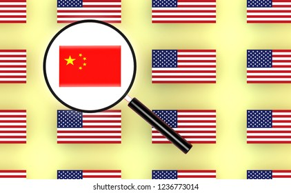 Flag of china and magnifier.3d illustration