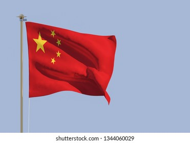 Flag China on blue sky. 3d rendering