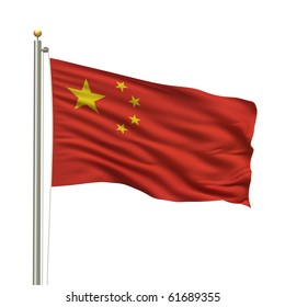 Flag of China with flag pole waving in the wind over white background