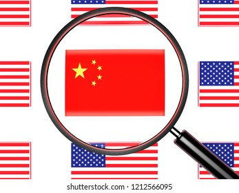 Flag of China and US flags.3d illustration