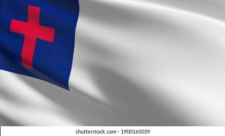 Flag of Christian. 3D rendering illustration of waving sign symbol.