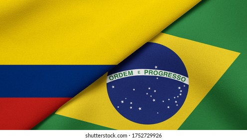 Flag of Colombia and Brazil - 3D illustration. Two Flag Together - Fabric Texture