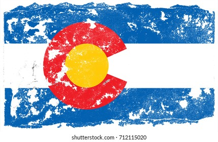The Flag Of Colorado. The state flag in grunge style
