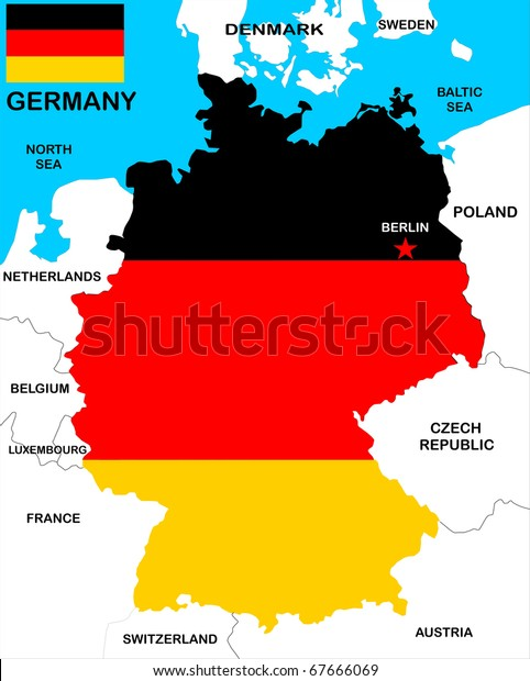 Map Of Germany With Neighbouring Countries.Flag Colored Map Germany Neighbors Stock Illustration 67666069