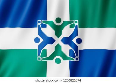 Flag of Columbia city, Missouri (US) 3d illustration