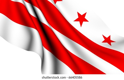 Flag of Columbia, USA against white background.