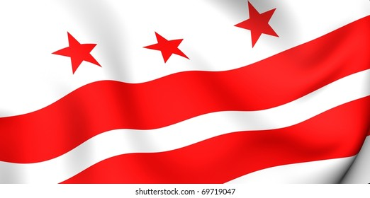 Flag of Columbia, USA. Close up.