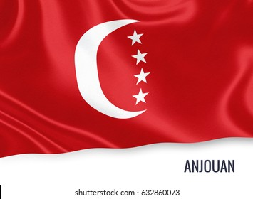 Flag of Comorian state Anjouan waving on an isolated white background. State name is included below the flag. 3D rendering.