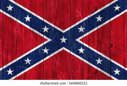 Flag of Confederate States of America on wooden background