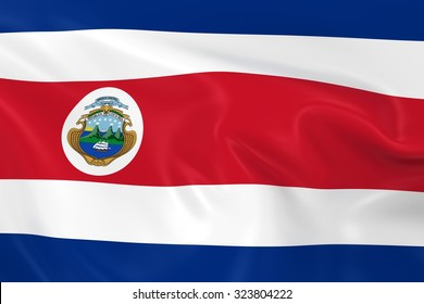 Flag of Costa Rica - 3D Render of the Costa Rican Flag with Silky Reflective Texture