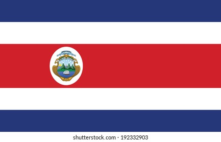 Flag of Costa Rica. Accurate dimensions, element proportions and colors.