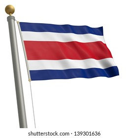 The flag of Costa Rica fluttering on flagpole