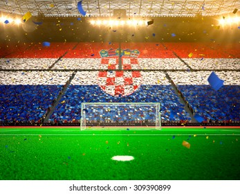 Flag Croatia of fans! Evening stadium arena soccer field championship win! Confetti and tinsel