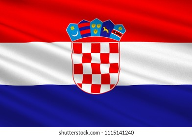 Flag of Croatia officially the Republic of Croatia is a sovereign state situated at the crossroads of Central and Southeast Europe. 3d illustration
