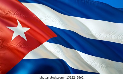 Flag of Cuba. 3D Waving flag design. The national symbol of Cuba, 3D rendering. National colors of Cuba 3D Waving sign background design.South America 3D ribbon, wallpaper, pattern background