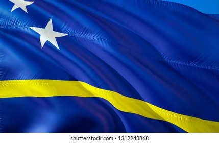 Flag of Curacao. 3D Waving flag design. The national symbol of Curacao, 3D rendering. National colors of Curacao 3D Waving sign background design.Caribbean 3D ribbon, wallpaper, pattern background