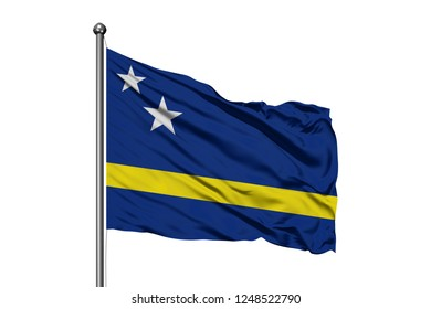 Flag of Curacao waving in the wind, isolated white background.