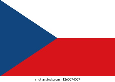 Flag of Czech Republic is a landlocked country in Central Europe. 3d illustration