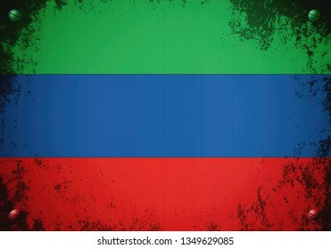Flag of Dagestan (Republic of Dagestan within the Russian Federation).