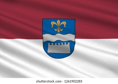 Flag of Daugavpils is a city in southeastern Latvia. 3d illustration