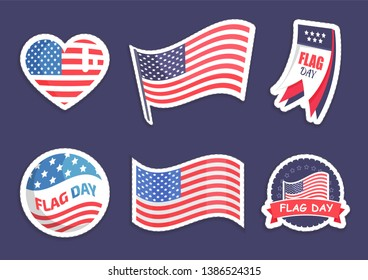 Flag day celebration collection of stickers and banners with usa symbols american national symbolic raster illustration isolated on blue background