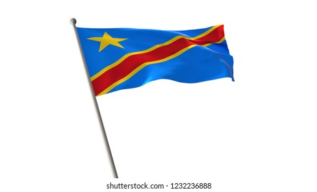 Flag of the Democratic Republic of the Congo,National flag of  Democratic Republic of the Congo isolated from the background can be used to design.3D illustration,3D rendering