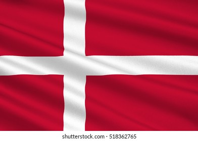 Flag of Denmark is a Scandinavian country in Europe. 3d illustration