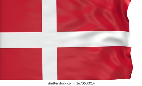 flag of Denmark waving in the wind in front of white background. Official Nation Flag Isolated on White Background. 3D Render.