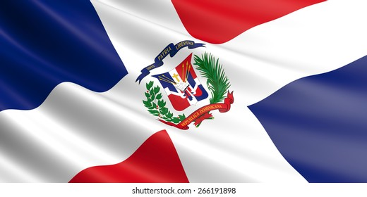 Flag of Dominican Republic fluttering in wind.