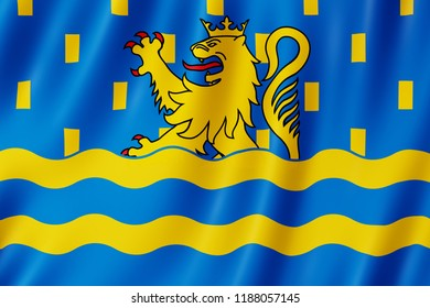 Flag of Doubs, France. 3d illustration of Doubs flag waving