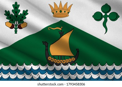 Flag of Dun Laoghaire–Rathdown is a county in Ireland. It is part of the Dublin Region in the province of Leinster. 3d illustration