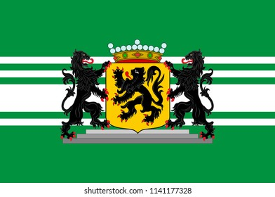 Flag of East Flanders is a province of Flanders, one of the three regions of Belgium. 3d illustration