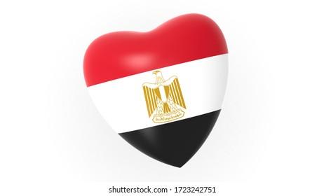flag of Egypt in heart on white background, 3d rendering