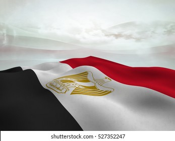 Flag of Egypt waving over an  abstract  sky with cloud - 3d render
