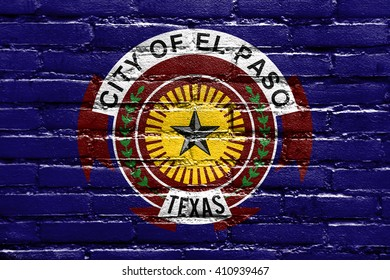 Flag of El Paso, Texas, painted on brick wall