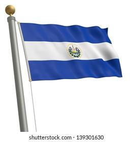 The flag of El Salvador fluttering on flagpole