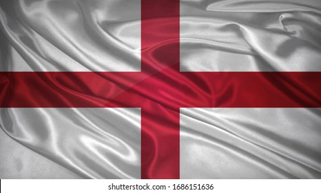 Flag of England 3D Illustration. England Flag for Independence Day, celebration, election. The symbol of the state on wavy silk fabric.