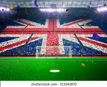 Flag England of fans! Evening stadium arena soccer field championship win! Confetti and tinsel