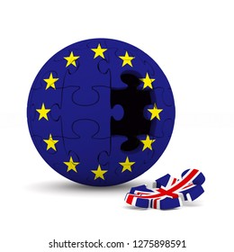 flag EU and  Great Britain on puzzle. Isolated 3D illustration.