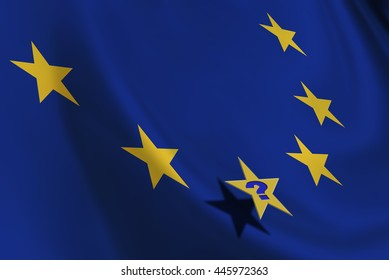 Flag of EU with yellow stars and a star with a question mark. An uncertainty in European Union provoked by the UK referendum on leaving the bloc and could stimulate countries to do the same.