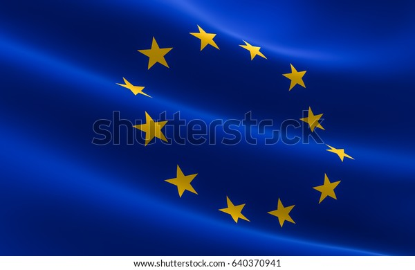 Flag of European Union. 3D illustration of the EU flag waving.