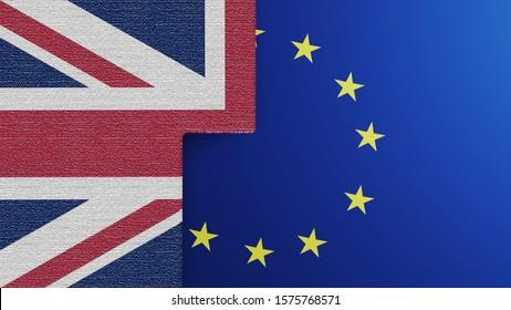 flag of European union BEHIND UK FLAG. BREXIT CONCEPT