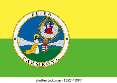 Flag of Fejer is an administrative county in Central Hungary. 3d illustration